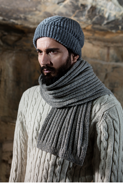 986c06d484bfbf Gents Fisherman Cable Merrino & Cashmere Ribbed Hat and Scarf ...