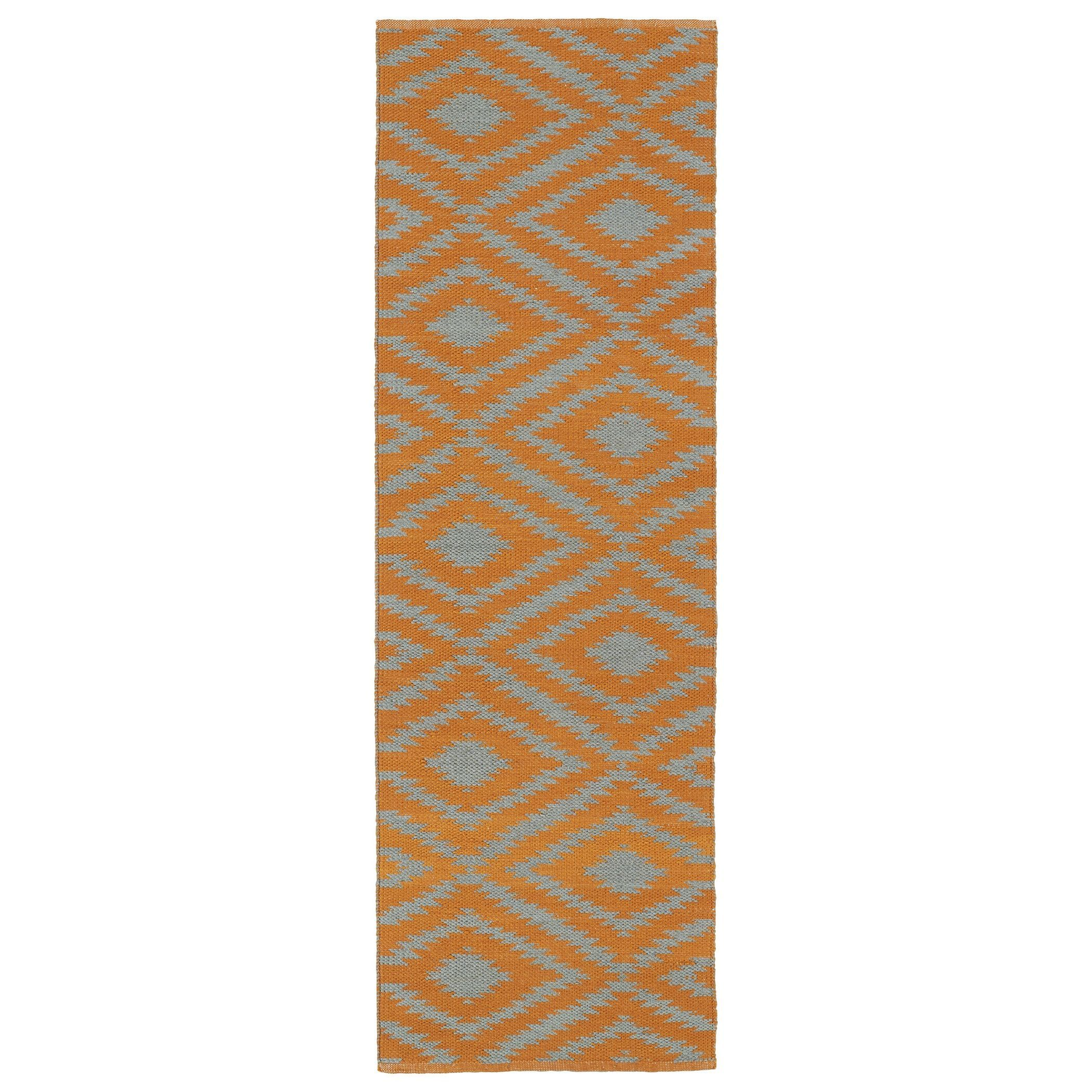 Kaleen Rugs Indoor/Outdoor Laguna Orange and Grey Ikat Flat-Weave Rug (2'0 x 6'0) (2'0 x 6'0), Size 2' x 6'