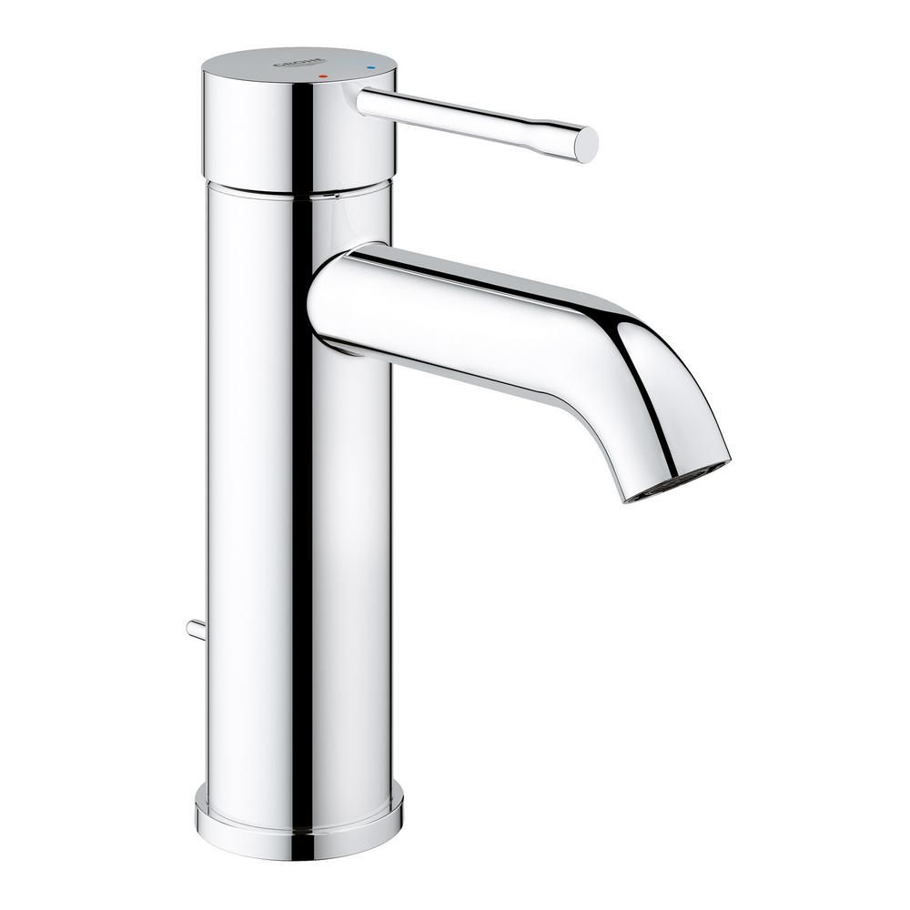 Grohe Essence New Single Hole Handle 1 2 Gpm Mid Arc Bathroom Faucet In Starlight Chrome