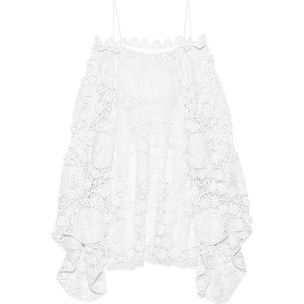 Chloé Off-the-shoulder crocheted cotton mini dress ($3,585) ❤ liked on Polyvore featuring dresses, shirts, white, off shoulder mini dress, short sleeve dress, white cotton dress, crochet mini dress and white dress