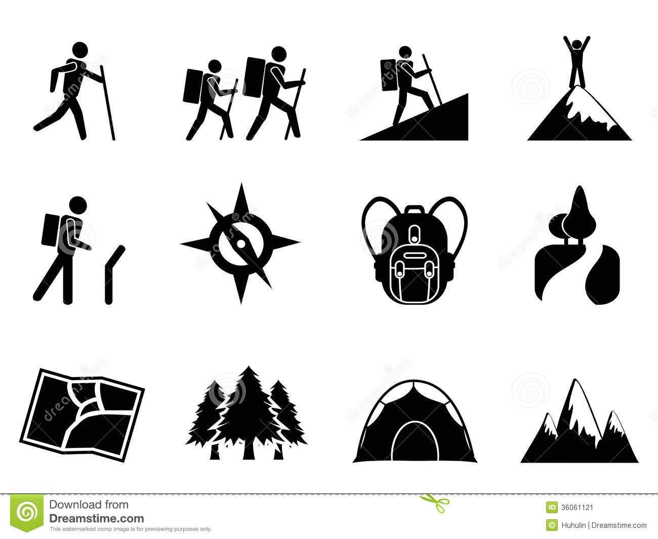 Retro Mountain Climbing Icons