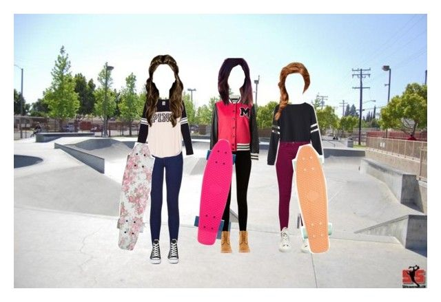"""""""Skating with the girls"""" by missmimimurray ❤ liked on Polyvore featuring Victoria's Secret PINK, Great Plains, Givenchy, Timberland, Moschino and Converse"""