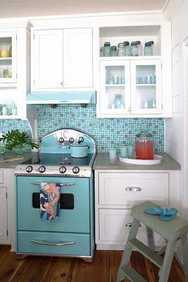 turquoise & white kitchen