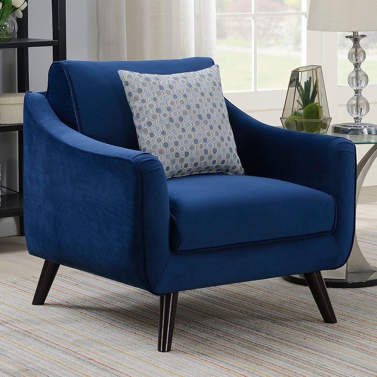 Bainbridge Blue Velvet Armchair Blue Accent Chairs Accent
