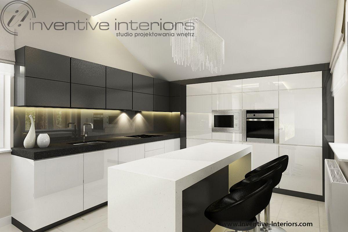 Projekt Kuchni Inventive Interiors Bialo Szara Kuchnia Z Wyspa I Szarym Lacobelem Na Scianie Kitchen Design Interior Deco Kitchen Themes