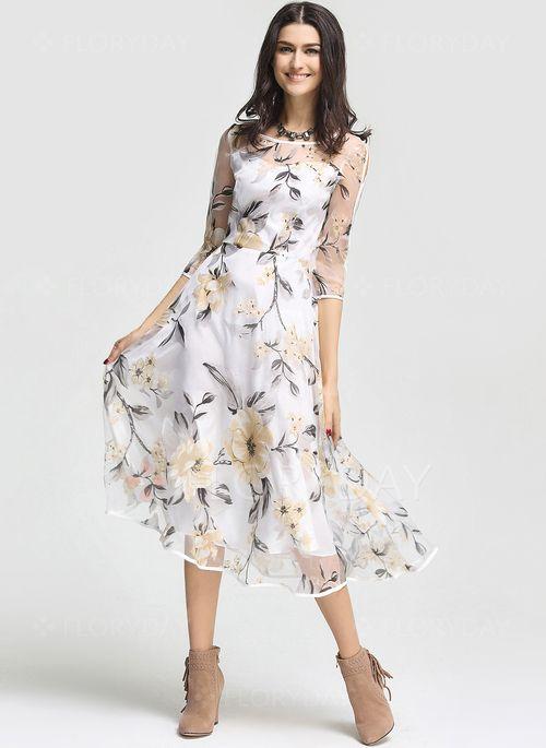 Dresses - $64.62 - Organza Floral 3/4 Sleeves Mid-Calf Casual Dresses (