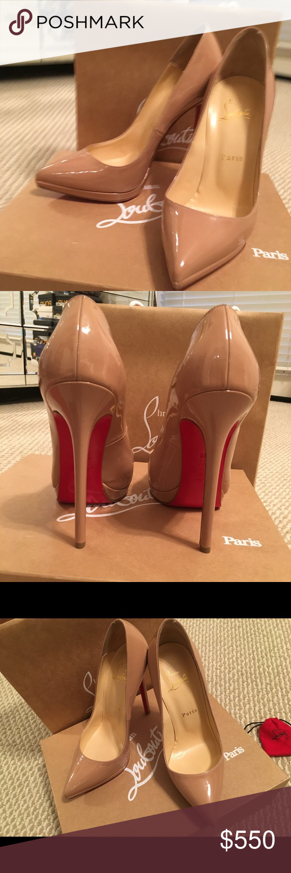 huge selection of 120e5 8fd9a Christian Louboutin Pigalle Plato 140 Patent NUDE Red ...