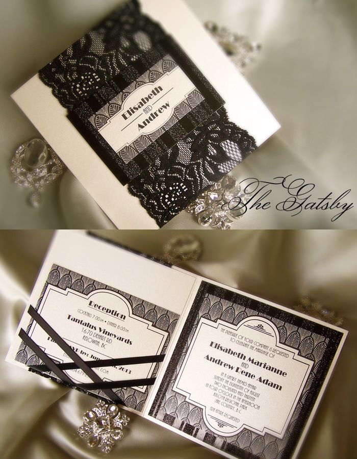 Beautiful Vintage Art Deco Gatsby Wedding Invitation By Enchanted Moments Invitations Cards
