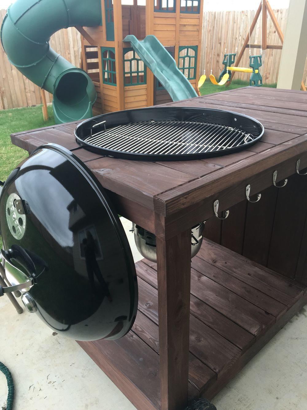 Side View With Lid Holder Grill Table Backyard Grilling Bbq Table