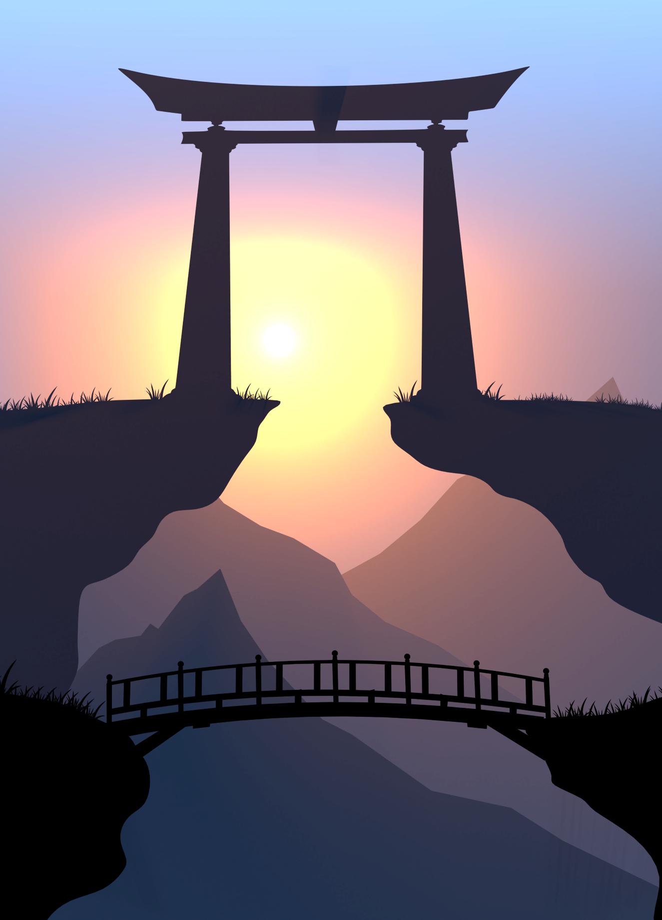 Torii Sunset Iphone Case By Silentvalley Digital Art Beginner Landscape Illustration Landscape Art