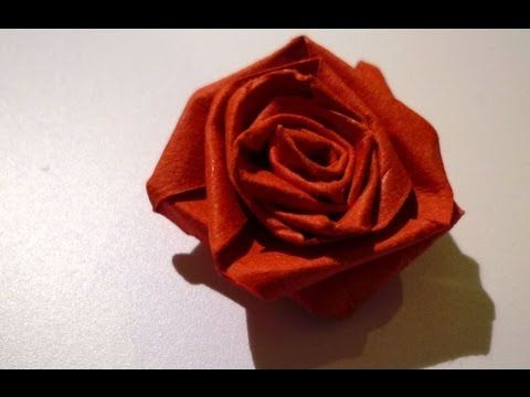 pliage serviette papier coupe de rose - youtube | anniversaire