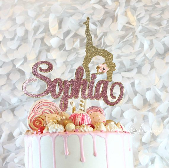 kids birthday party Cake name pink cake topper dancer gilded Decoration age