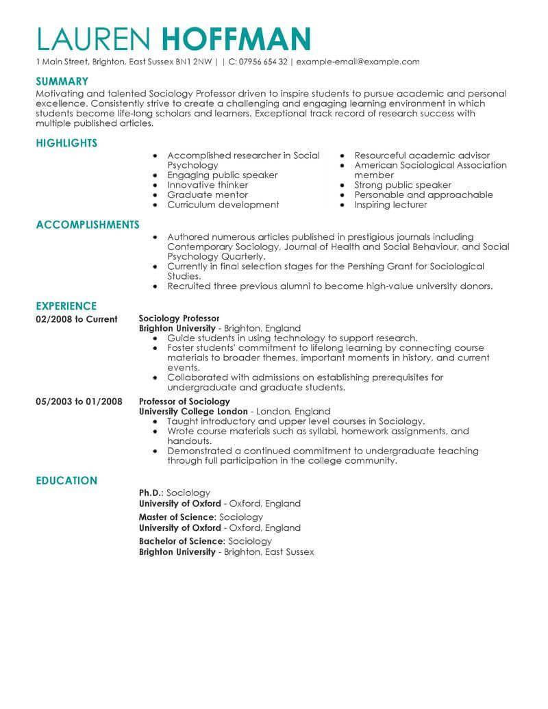 Cv Template For Professor In 2021 Resume Examples Job Resume Examples Good Resume Examples