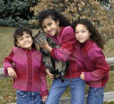 Girls Posing With Cat stock photo