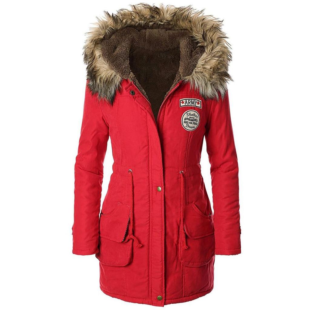 Red Parka Coat Ladies