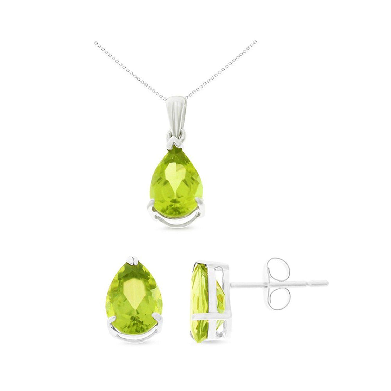K white gold x mm pear genuine natural peridot earrings