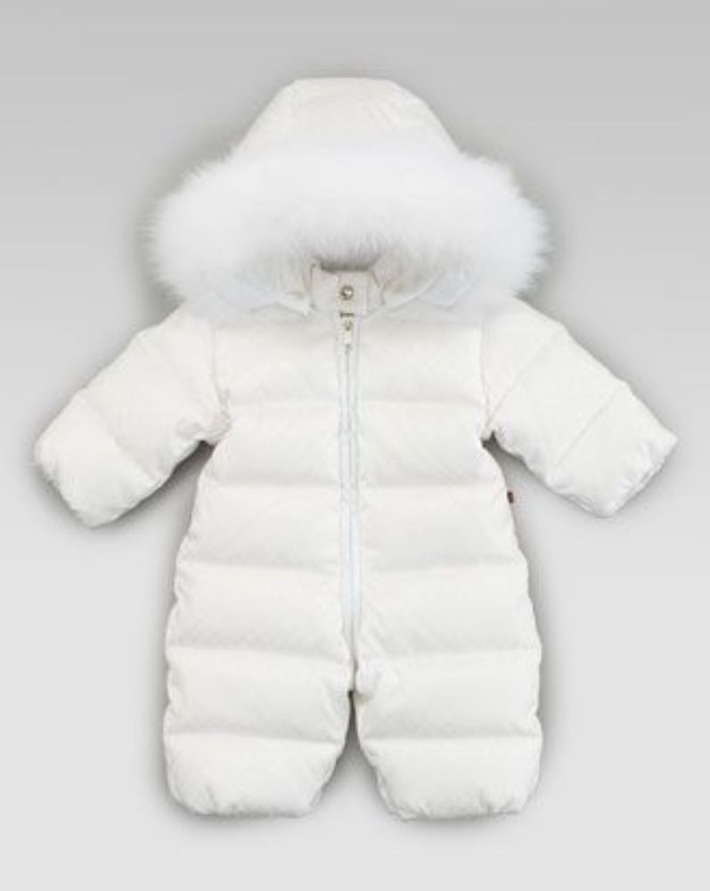 4fed6b8366c5 Gucci Baby Luxe Winter White Fur Down Infant Snowsuit Size 0-3 ...