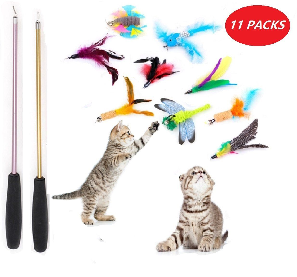 11 Refill Cat Toys Interactive 2 Wands Cat Toy Wand Cat Feather Toy Cat Toy Assortment Cat Interactive Toys Cat Cat Toys Cat Carrier Pet Toys