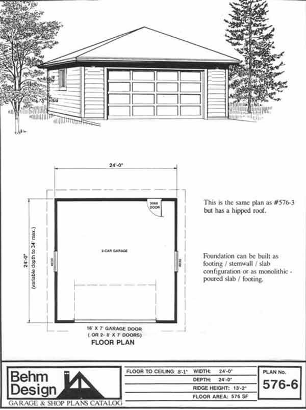 2 car hipped roof style garage plan with one story 576 6 for Hip roof garage plans
