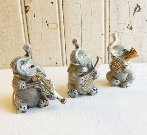 Elephant Band Figurines - Three Elephant Musicians - Anthropomorphic 1970s Kitsch - Made in Taiwan