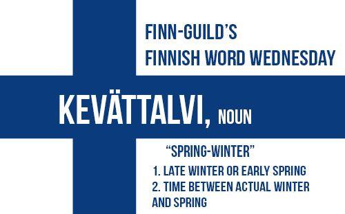 """Kevättalvi on talven ja kevään välissä. """"Spring-winter"""" is between winter and spring."""