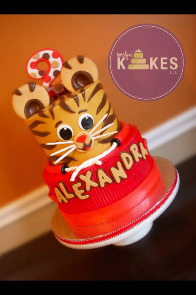 Daniel Tiger Cake Both Tiers Are Iced In Buttercream Decorations