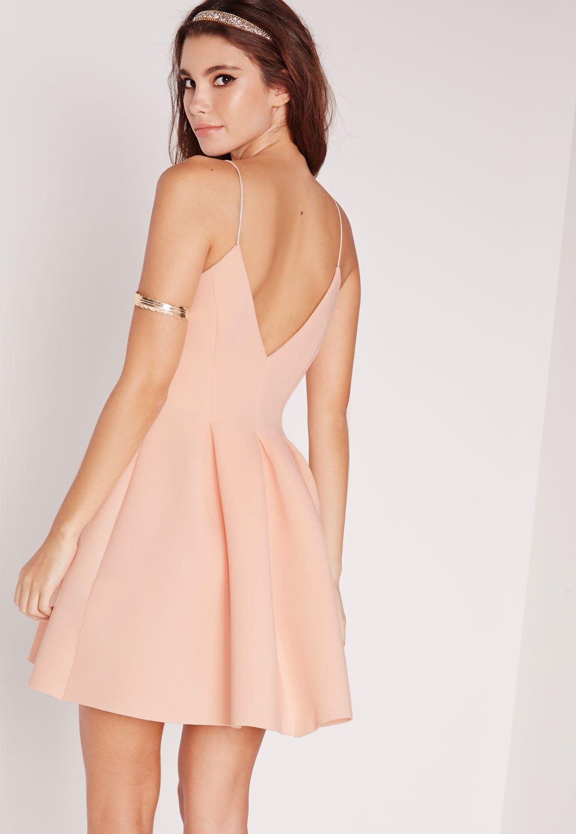 f55107a26212 Missguided - Scuba Plunge Skater Dress Nude | Feelin' 22 | Dresses ...