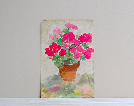 Vintage Pink Flower Watercolor Painting / by LittleDogVintage