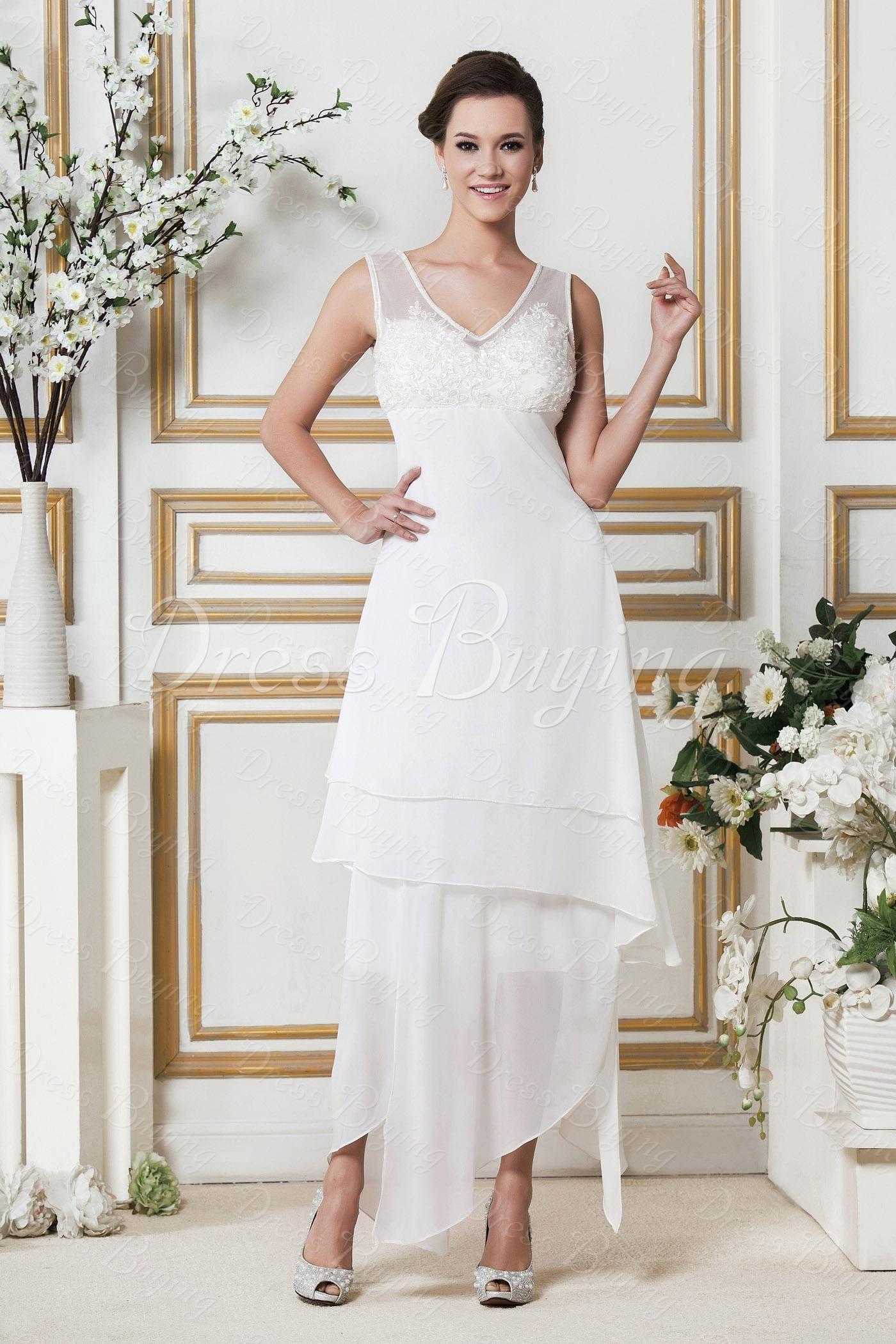 Cheap casual wedding dresses  Amazing SheathColumn Vneck Asymmetry BeachPlus Size Wedding Dress