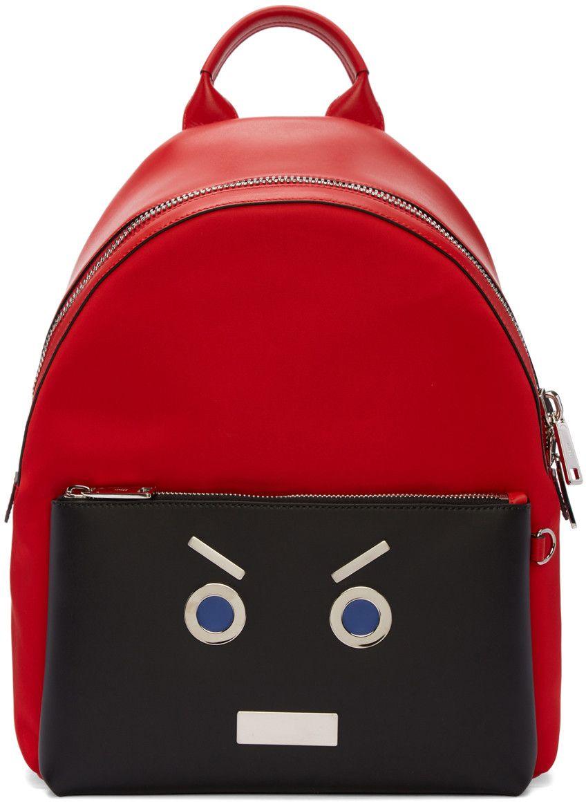 1a7107be8512 FENDI Red  Fendi Faces  Backpack.  fendi  bags  leather  lining  nylon   backpacks