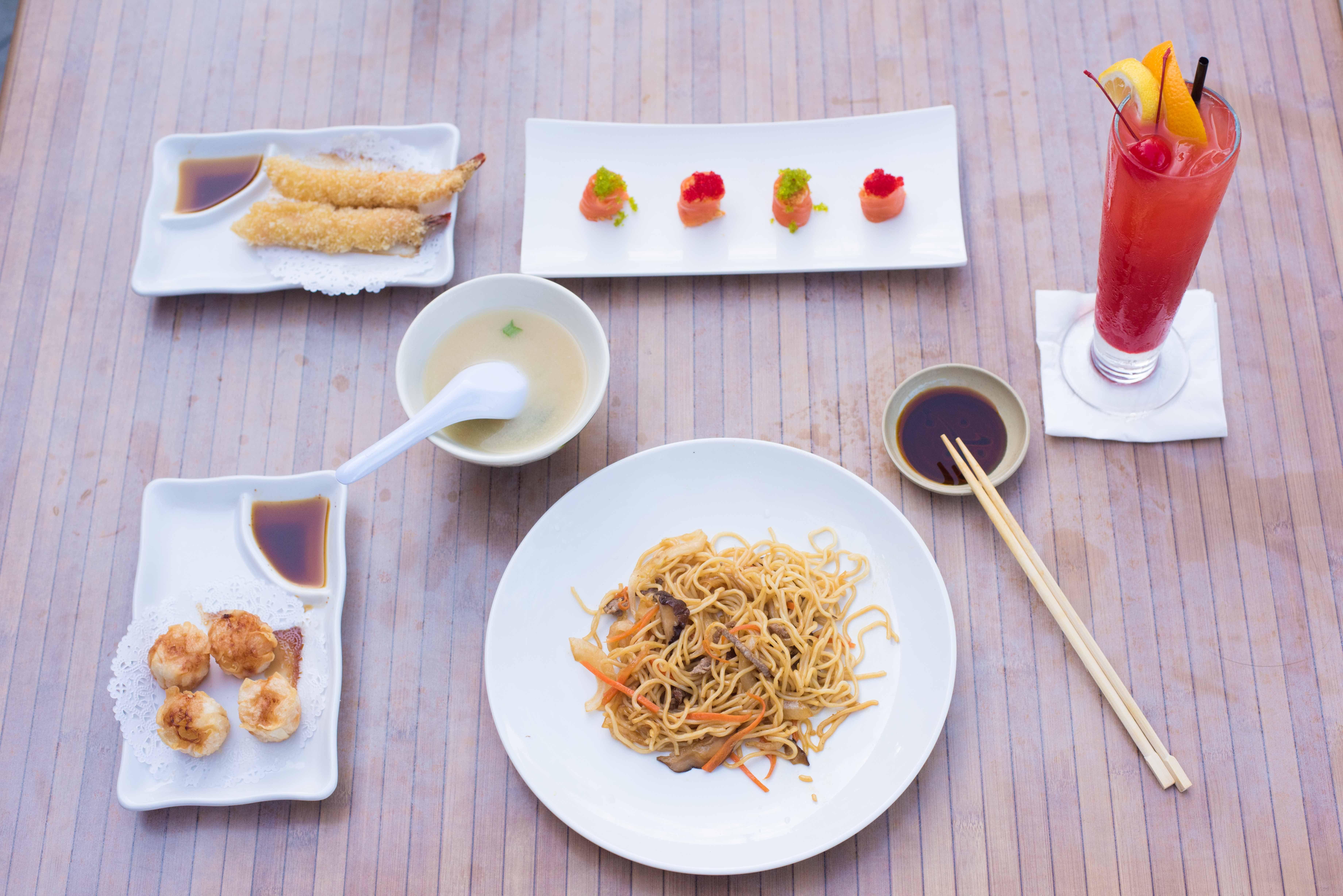 Yakisoba, shrimp shumai, salmon roll, shrimp tempura
