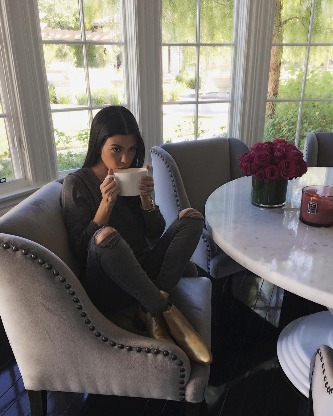 Love Kourtney Kardashian Kitchen Table U0026 Chairs / Cozy Kitchen / Would Do A  Wood Table For Modern Farmhouse