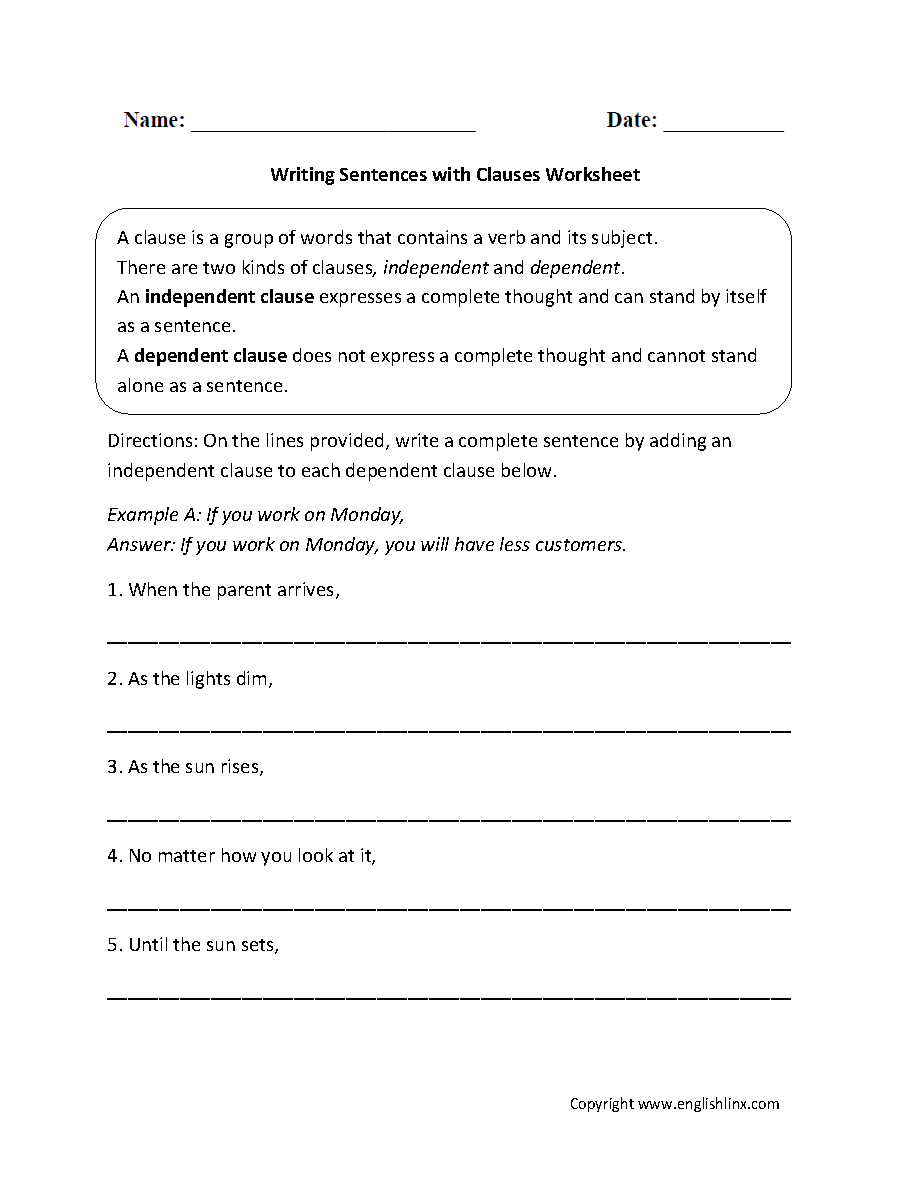 worksheet Pe Worksheets writing sentences with clauses worksheet eye tutorial this directs the student to write a complete sentence by adding an independent clause each dependent clause