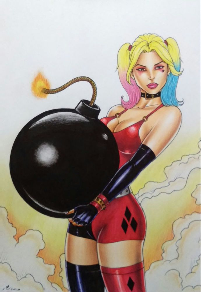 HARLEY QUINN 3 BY artist SIDNEY CINTRA-ART PINUP Drawing Original COMIC #PopArt