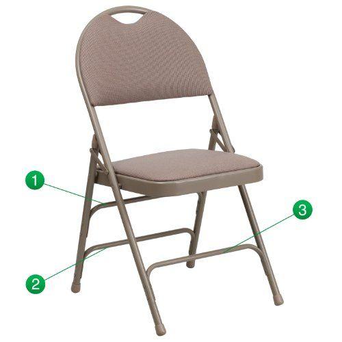 Flash Furniture 14 Hercules Series UltraPremium Triple Braced Fabric Metal Folding  Chair XLarge Beige * You