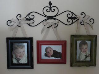 Great Site On How To Hang Frames From Ribbon Or Knobs Glued To