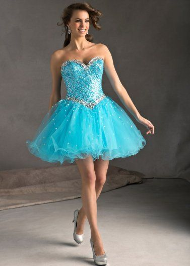 Blue Short Heavily Beaded Tulle Corset Top Beaded Prom Dress