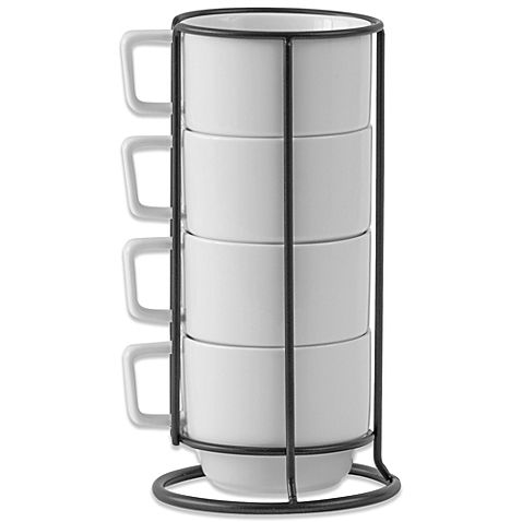 This set of 4 porcelain mugs are perfect for use every day, and can be kept on your kitchen counter as they stack upright into a matching metal rack. Cups are microwave and dishwasher safe.