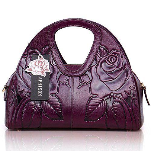 b9d4c3bc987f APHISON Fashion Ladies Embossed Floral Leather Tote Shoulder Bags Unique  Design Top Handle Handbag … (Purple). UK handbags. UK handbag. Women  handbags.