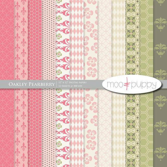 Moo & Puppy Oakley Pearberry Digital Scrapbook Paper Pack