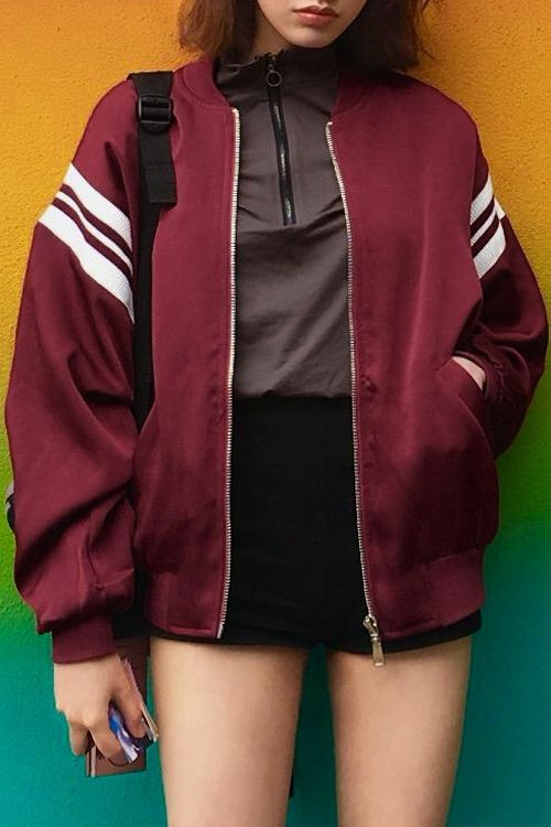 Vintage Color Block Collarless Long Sleeve Jacket Wine Red Leather Jacket Style Bomber Jacket Vintage Clothes