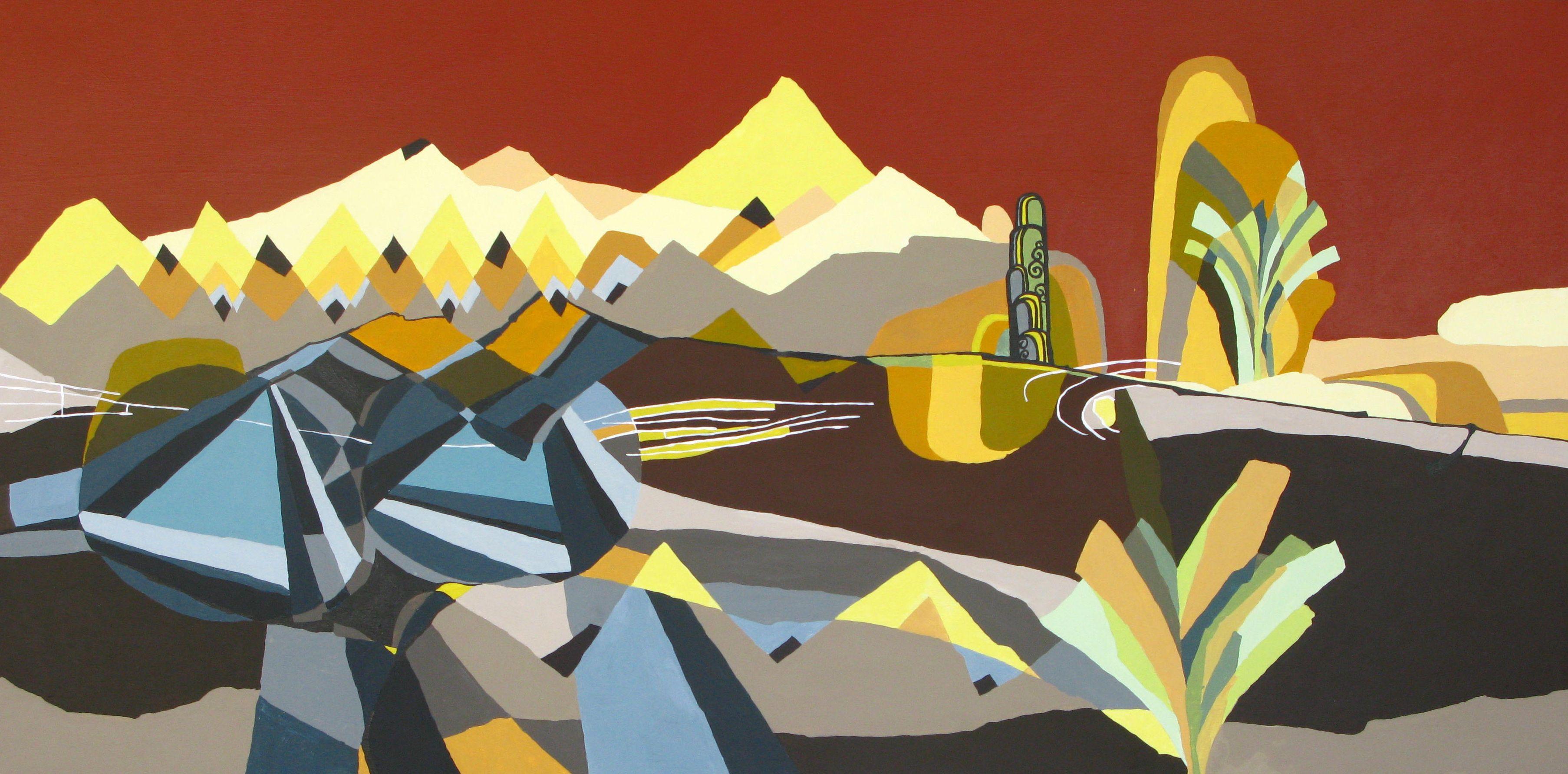 Art deco place acrylic on panel 24 x 48 2012 by ryan