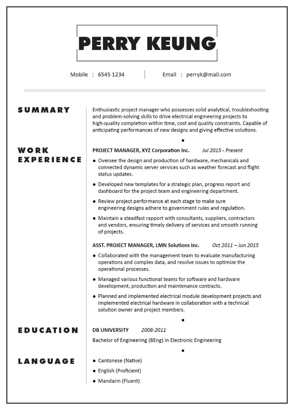 Professional Blue CV Template Resume Template Hong Kong