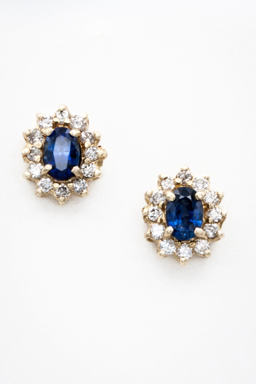 Classic 14k Yellow Gold Ceylon Sapphire And Diamond Stud Halo Motif Earring Sapphire Earr Sapphire Earrings Studs Blue Sapphire Jewelry Blue Bridal Earrings