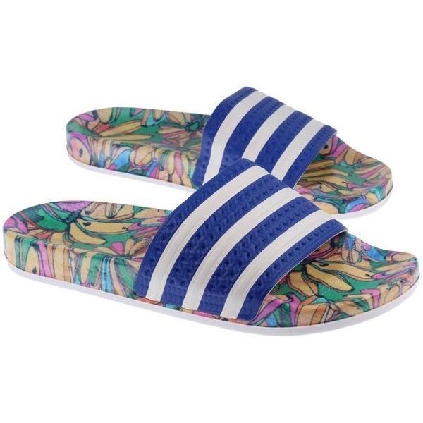 3dd33d68e4c65 Adidas Womens Adilette Flip Flops Blue Floral ( 33) ❤ liked on Polyvore  featuring shoes