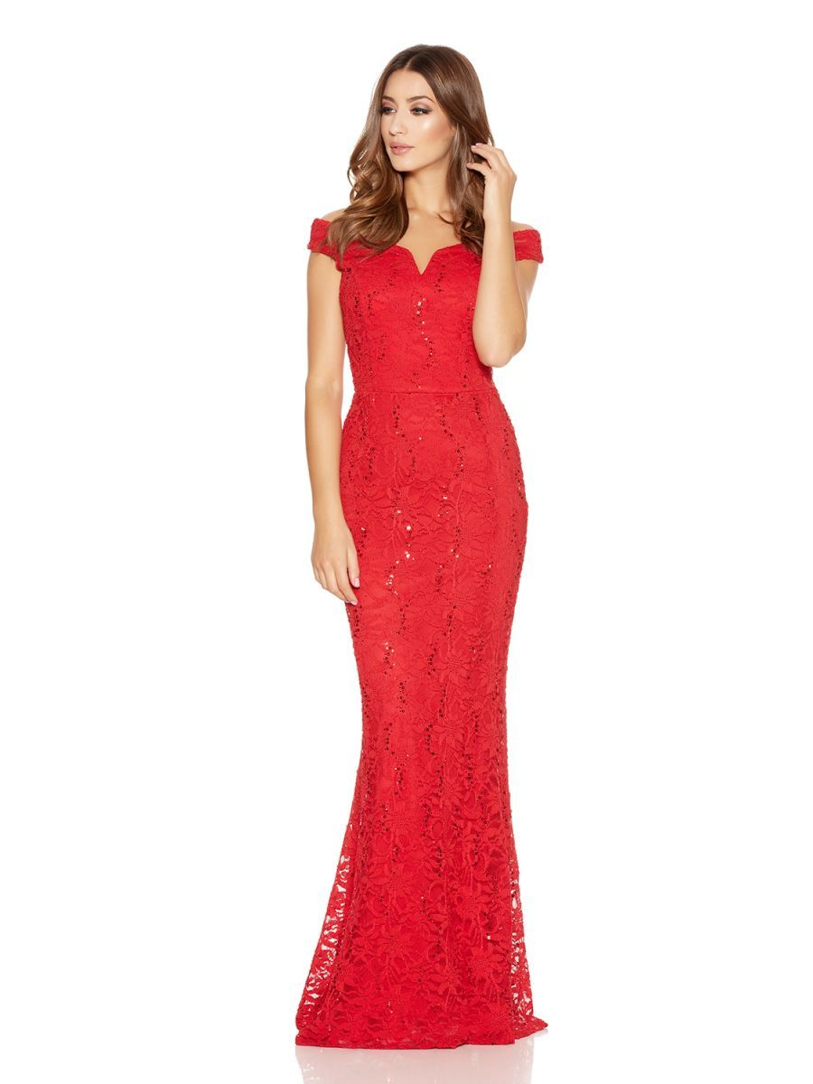 33078f19c1 Red Lace Sequin Bardot Fishtail Maxi Dress - Quiz Clothing
