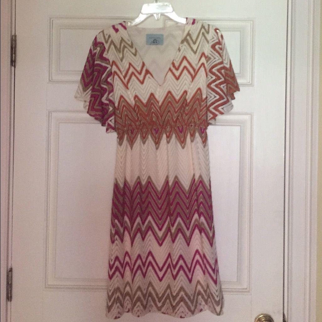 Judith March Chevron Print Dress Size Large