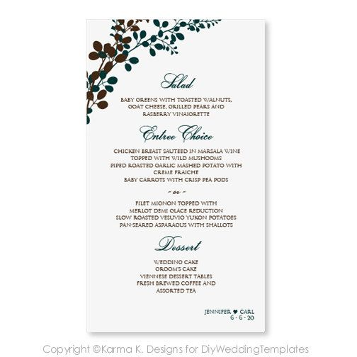 Wedding Menu Card Template Download Instantly Edit Your Text Exquisite Vines Teal Mocha 4 X 7 Mi Menu Card Template Wedding Menu Cards Wedding Menu
