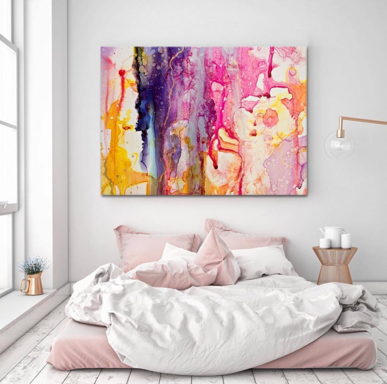 Artwork above bed on floor Abstract themed bedroom … Art