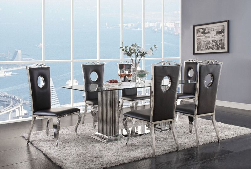 a0da971813d 7 pc Fabiola chrome metal and black glass top dining table set. This set  includes the table and 6 side chairs. Table measures 39